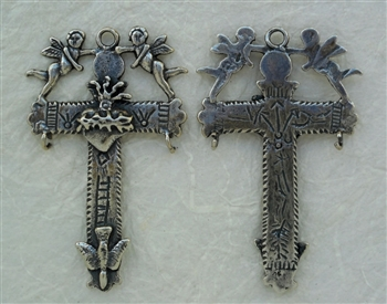 "Yalalag Cross with Angels Mexico 2 3/8"" - Catholic religious medals in authentic antique and vintage styles with amazing detail. Large collection of heirloom pieces made by hand in California, US. Available in true bronze and sterling silver."