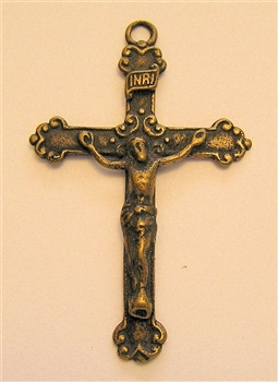 "J Van Crucifix 1 5/8"" - Catholic religious medals in authentic antique and vintage styles with amazing detail. Large collection of heirloom pieces made by hand in California, US. Available in true bronze and sterling silver."