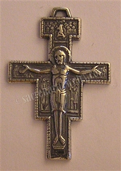 "San Damiano Crucifix 1 3/8""  - Catholic Franciscan medals in authentic antique and vintage styles with amazing detail. Large collection of heirloom pieces made by hand in California, US. Available in true bronze and sterling silver."