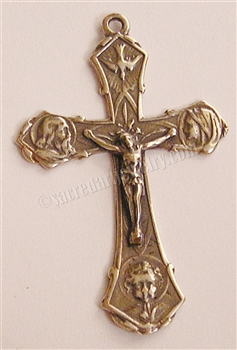 "Holy Family Crucifix 2"" - Catholic and Christian medals of the Holy Family in authentic antique and vintage styles with amazing detail. Large collection of heirloom pieces made by hand in California, US. Available in true bronze and sterling silver."