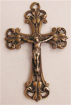 "Baroque Crucifix 1 1/2"" - Catholic rosary parts in authentic antique and vintage styles with amazing detail. Large collection of Christian crosses, crucifixes, centerpieces, and heirloom medals made by hand in bronze and sterling silver 925."