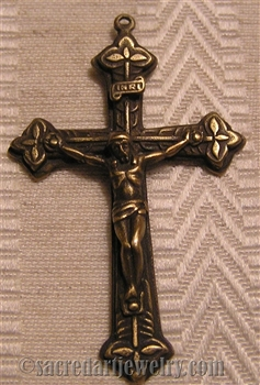 Three Leaves Italy Crucifix 2""