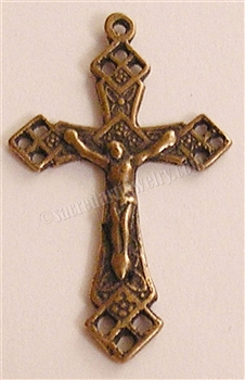 "Lourdes Crucifix 1 3/8"" - Catholic religious rosary parts in authentic antique and vintage styles with amazing detail. Large collection of crucifixes, centerpieces, and heirloom medals made by hand in true bronze and .925 sterling silver."