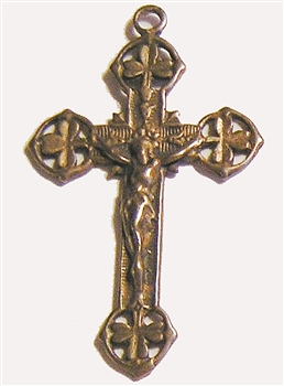 "Shamrock Crucifix 1 7/8"" - Catholic religious medals in authentic antique and vintage styles with amazing detail. Large collection of heirloom pieces made by hand in California, US. Available in true bronze and sterling silver."