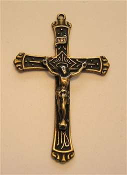 "Rosary Crucifix 2""- Catholic religious rosary parts and medals in authentic antique and vintage styles with amazing detail. Large collection of crucifixes, centerpieces, and heirloom medallions made by hand in California, US. Available in true bronze and"
