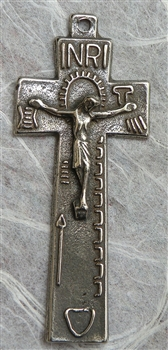 "Irish Penal Crucifix 2"" - Catholic religious medals in authentic antique and vintage styles with amazing detail. Large collection of heirloom pieces made by hand in California, US. Available in true bronze and sterling silver."