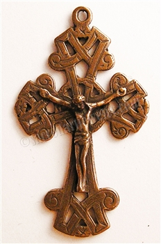 "Antique Celtic Crucifix 2 3/8"" - Catholic religious medals in authentic antique and vintage styles with amazing detail. Large collection of heirloom pieces made by hand in California, US. Available in true bronze and sterling silver."