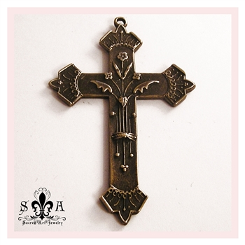 "French Cross 2 1/2"" - Catholic religious crosses and medals in authentic antique and vintage styles with amazing detail. Large collection of heirloom pieces made by hand in California, US. Available in true bronze and sterling silver."