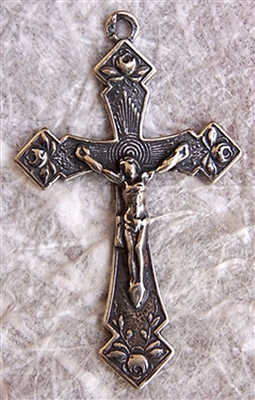 "Delicate Roses Crucifix 1 3/8"" - Catholic religious medals in authentic antique and vintage styles with amazing detail. Large collection of heirloom pieces made by hand in California, US. Available in true bronze and sterling silver."