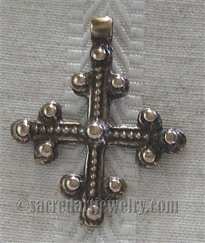 "Coptic Trinity Pendant 1 1/2"" - Catholic religious medals in authentic antique and vintage styles with amazing detail. Large collection of heirloom pieces made by hand in California, US. Available in true bronze and sterling silver."