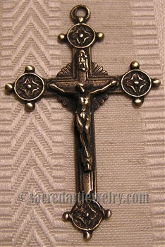 "Trinity Crucifix 2"" - Catholic religious medals in authentic antique and vintage styles with amazing detail. Large collection of heirloom pieces made by hand in California, US. Available in true bronze and sterling silver."