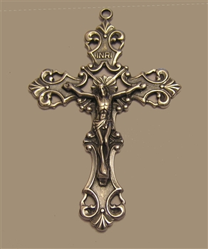 "Ornate Scroll Crucifix 2 1/4"" - Catholic religious medals in authentic antique and vintage styles with amazing detail. Large collection of heirloom pieces made by hand in California, US. Available in true bronze and sterling silver."