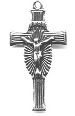 "Art Deco Lines Crucifix 1 3/4"" - Catholic religious medals in authentic antique and vintage styles with amazing detail. Large collection of heirloom pieces made by hand in California, US. Available in true bronze and sterling silver."