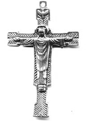 "Benediction Crucifix 2 5/8"" - Catholic religious rosary parts in authentic antique and vintage styles with amazing detail. Large collection of crucifixes, centerpieces, and heirloom medals made by hand in true bronze and .925 sterling silver."