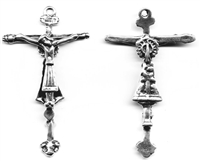 "Spanish Crucifix 2 1/2"" - Catholic religious rosary parts in authentic antique and vintage styles with amazing detail. Large collection of crucifixes, centerpieces, and heirloom medals made by hand in true bronze and .925 sterling silver."