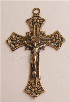 "Victorian Crucifix 1 3/4"" - Catholic religious rosary parts in authentic antique and vintage styles with amazing detail. Large collection of crucifixes, centerpieces, and heirloom medals made by hand in true bronze and .925 sterling silver."