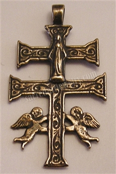 "Caravaca Cross 2 1/4"" - Catholic  pendants and religious rosary parts in authentic antique and vintage styles with amazing detail. Large collection of crucifixes, centerpieces, and heirloom medals made by hand in true bronze and .925 sterling silver."