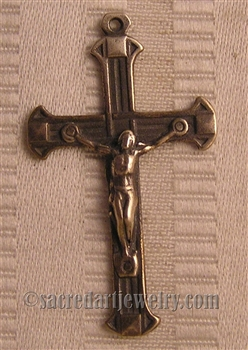"Art Deco Crucifix 1 3/4"" - Catholic religious rosary parts in authentic antique and vintage styles with amazing detail. Large collection of crucifixes, centerpieces, and heirloom medals made by hand in true bronze and .925 sterling silver."