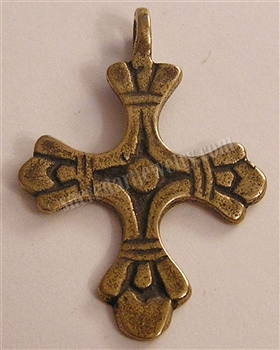 "Fleur De Lis Cross 1 1/2"" - Catholic religious medals and cross necklaces and in authentic antique and vintage styles with amazing detail. Big collection of crosses, medals and a variety of chains in sterling silver and bronze."