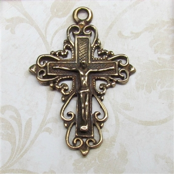 "Wire Hearts Crucifix 1 3/4"" - Catholic religious medals and cross necklaces and in authentic antique and vintage styles with amazing detail. Big collection of crosses, medals and a variety of chains in sterling silver and bronze."