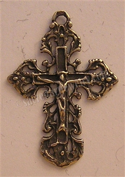 "Filigree Crucifix 1 1/2"" - Catholic religious medals and cross necklaces and in authentic antique and vintage styles with amazing detail. Big collection of crosses, medals and a variety of chains in sterling silver and bronze."