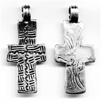 "Coptic Cross Pendant 1 7/8"" - Catholic religious medals and cross necklaces and in authentic antique and vintage styles with amazing detail. Big collection of crosses, medals and a variety of chains in sterling silver and bronze."