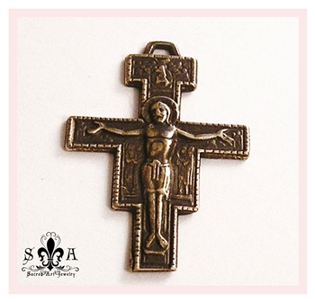 "Small San Damiano Crucifix 1 5/8"" - Catholic religious rosary parts in authentic antique and vintage styles with amazing detail. Large collection of crucifixes, centerpieces, and heirloom medals made by hand in true bronze and .925 sterling silver."