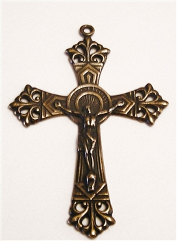 "Art Deco Fleur de Lis Crucifix 2 1/2"" - Catholic religious medals in authentic antique and vintage styles with amazing detail. Large collection of heirloom pieces made by hand in California, US. Available in true bronze and sterling silver."