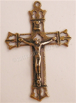 "Delicate Openwork Crucifix 2"" - Catholic religious rosary parts in authentic antique and vintage styles with amazing detail. Large collection of crucifixes, centerpieces, and heirloom medals made by hand in true bronze and .925 sterling silver."