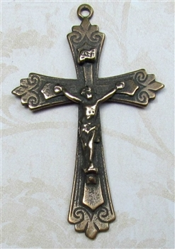 "Catholic Crucifix 1 3/4"" - Catholic religious rosary parts in authentic antique and vintage styles with amazing detail. Large collection of crucifixes, centerpieces, and heirloom medals made by hand in true bronze and .925 sterling silver."