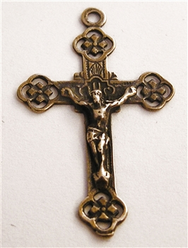 "Small Celtic Crucifix 1 1/8"" - Catholic religious rosary parts in authentic antique and vintage styles with amazing detail. Large collection of crucifixes, centerpieces, and heirloom medals made by hand in true bronze and .925 sterling silver."