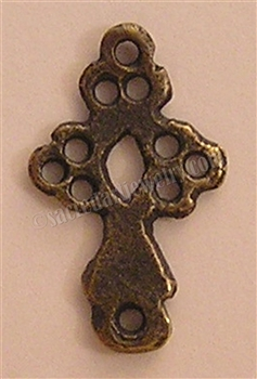 "Cross Link Connector 7/8"" - Catholic religious rosary parts in authentic antique and vintage styles with amazing detail. Large collection of crucifixes, centerpieces, and heirloom medals made by hand in true bronze and .925 sterling silver."