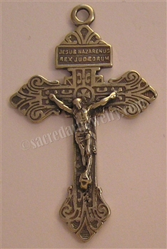 "The Pardon Crucifix 2 1/8"" - Catholic religious rosary parts in authentic antique and vintage styles with amazing detail. Large collection of crucifixes, centerpieces, and heirloom medals made by hand in California, US. Available in true bronze and .925 s"