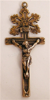 "Radiant Crucifix 2 1/2"" - Catholic religious rosary parts in authentic antique and vintage styles with amazing detail. Large collection of crucifixes, centerpieces, and heirloom medals made by hand in California, US. Available in true bronze and .925 ster"