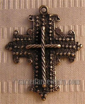 "Coptic Cross 1 3/4"" - Catholic religious rosary parts in authentic antique and vintage styles with amazing detail. Large collection of crucifixes, centerpieces, and heirloom medals made by hand  in true bronze and .925 sterling silver."