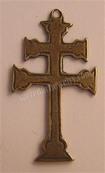 "Cross of Lorraine 1 3/4"" - Catholic religious rosary parts in authentic antique and vintage styles with amazing detail. Large collection of crucifixes, centerpieces, and heirloom medals made by hand in true bronze and .925 sterling silver."