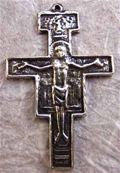 "San Damiano Crucifix 1 5/8"" - Catholic religious rosary parts in authentic antique and vintage styles with amazing detail. Large collection of crucifixes, centerpieces, and heirloom medals made by hand in true bronze and .925 sterling silver."