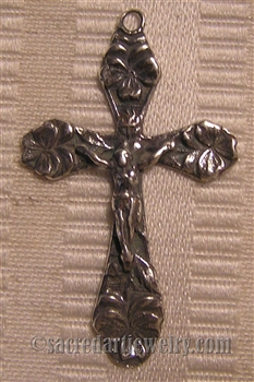 "Flowers Crucifix 1 1/2"" - Catholic religious rosary parts in authentic antique and vintage styles with amazing detail. Large collection of crucifixes, centerpieces, and heirloom medals made by hand  in true bronze and .925 sterling silver."