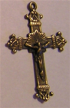 "Delicate Crucifix 1 3/8"" - Catholic religious rosary parts in authentic antique and vintage styles with amazing detail. Large collection of crucifixes, centerpieces, and heirloom medals made by hand in true bronze and .925 sterling silver."