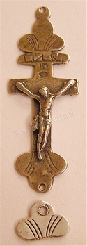 "Old Trade Crucifix 2 1/2"" - Catholic religious rosary parts in authentic antique and vintage styles with amazing detail. Large collection of crucifixes, centerpieces, and heirloom medals made by hand in true bronze and .925 sterling silver."