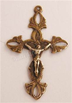 "Link Crucifix 1 5/8"" - Catholic religious rosary parts in authentic antique and vintage styles with amazing detail. Large collection of crucifixes, centerpieces, and heirloom medals made by hand in true bronze and .925 sterling silver."
