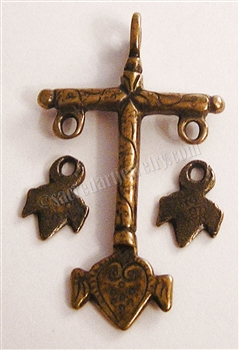 "Cross with Heart 2"" - Catholic religious rosary parts in authentic antique and vintage styles with amazing detail. Large collection of crucifixes, centerpieces, and heirloom medals made by hand in true bronze and .925 sterling silver."