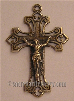 "Canada Crucifix 1 7/8"" - Catholic religious rosary parts in authentic antique and vintage styles with amazing detail. Large collection of crucifixes, centerpieces, and heirloom medals made by hand in true bronze and .925 sterling silver."