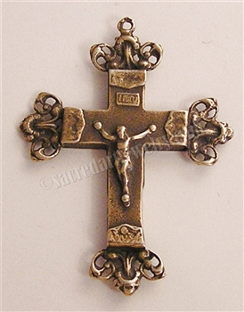 "Ornate Crucifix 1 3/4"" - Catholic religious rosary parts in authentic antique and vintage styles with amazing detail. Large collection of crucifixes, centerpieces, and heirloom medals made by hand in true bronze and .925 sterling silver."
