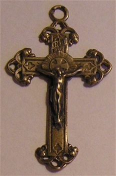 "Trinity Form Crucifix 1 3/4"" - Catholic religious rosary parts in authentic antique and vintage styles with amazing detail. Large collection of crucifixes, centerpieces, and heirloom medals made by hand in true bronze and .925 sterling silver."