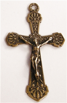 "Flowers Crucifix 2 1/8"" - Catholic religious rosary parts in authentic antique and vintage styles with amazing detail. Large collection of crucifixes, centerpieces, and heirloom medals made by hand in true bronze and .925 sterling silver."