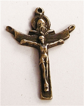 "Trinity Crucifix 1 1/4"" - Catholic religious medals and cross necklaces and in authentic antique and vintage styles with amazing detail. Big collection of crosses, medals and a variety of chains  in sterling silver and bronze."