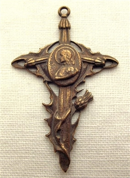 "Joan of Arc Cross Pomegranate 1 3/4"" - Catholic religious medals and cross necklaces and in authentic antique and vintage styles with amazing detail. Big collection of crosses, medals and a variety of chains  in sterling silver and bronze."