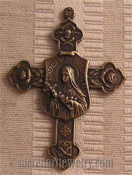 "St Therese Cross 1 3/4"" - Catholic religious medals and cross necklaces and in authentic antique and vintage styles with amazing detail. Big collection of crosses, medals and a variety of chains in sterling silver and bronze."