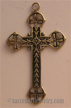 "Shamrock Cross 1 3/4"" - Catholic religious medals and cross necklaces and in authentic antique and vintage styles with amazing detail. Lovely collection of Irish shamrock crosses collection of Irish shamrock crosses, medals in sterling and bronze"